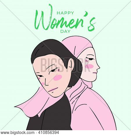Two Women Standing And Embracing Together. Cartoon Characters Vector Illustration Of Women's Friends