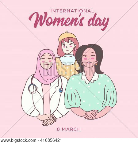 Group Of Women Or Girls Standing Together And Pose. Cartoon Characters Vector Illustration Of Women'