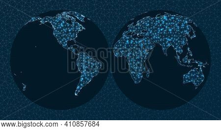 World Map Connection. Interrupted Mollweide Hemispheres Projection. World Network. Cool Connections
