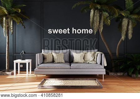 Elegant Living Room Interior With Vintage Sofa Between Large Palm Trees; Sweet Home Lettering; 3d Il
