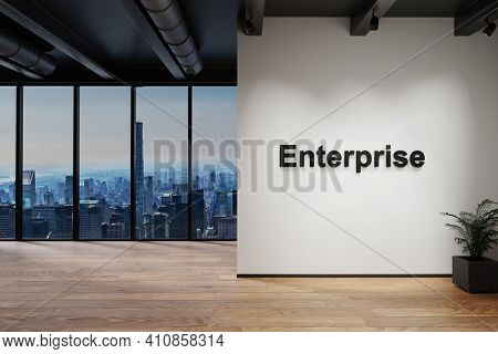 Modern Luxury Loft With Skyline View, Wall With Enterprise Lettering, 3d Illustration