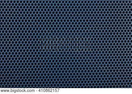 Blue Hexagonal Punched Eva - Ethylene Vinyl Acetate Foam Carpet, Flat Full Frame Texture And Backgro