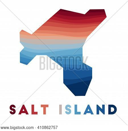 Salt Island Map. Map Of The Island With Beautiful Geometric Waves In Red Blue Colors. Vivid Salt Isl