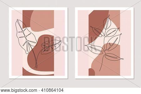 Botanical Wall Art Vector Set. Foliage Continuous One Line Drawing With Abstract Shape. Minimalist A