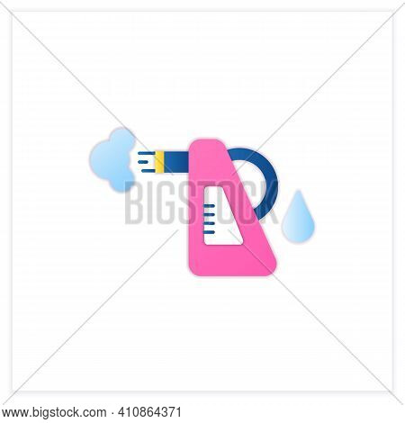 Steam Cleaning Flat Icon. Cleaning Method. Steaming Process. Cleanup Flooring And Household Dirt Rem