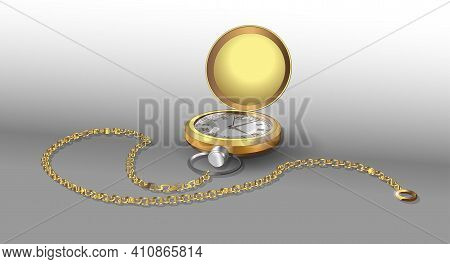 Realistic 3D Models Of Gold Pocket Watch With Chain. Golden Classic Pocket Watches Poster Design Tem