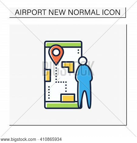Flight Preview Color Icon. Pre-map The Passenger Experience. Ability To Pre-map Airport Journeys Bef