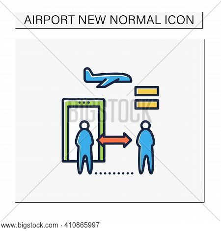 Distance Between Checkpoints Color Icon. Safe Distance For Passengers. Protection Against Viruses. A