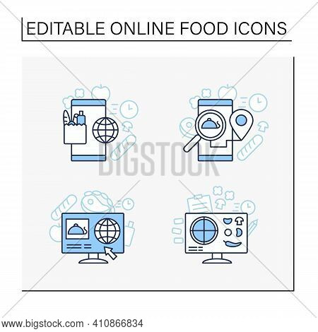 Online Food Line Icons Set. Dark Store, Pizza Constructor Online, Food Map, Shopping. Shopping Appli
