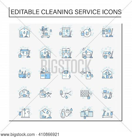 Cleaning Services Line Icons Set.consists Of House Cleaning, Apartments, Commercial, Services, Press