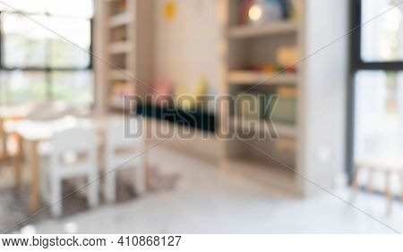 Blurred Picture Background Of A Cafe And Co-working Space