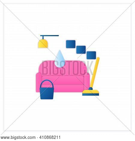 Living Room Cleaning Flat Icon. Home Cleanup. Sofa Dry. Clutter Cleanup. Mopping, Wiping, Dusting. C