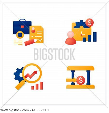 Business Incubator Flat Icons Set. Startup Company. Bank, Tax Declaration, Market Research. Startup