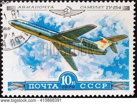 Ussr - Circa 1979: Postage Stamp 'tupolev Tu-154' Printed In Ussr. Series: 'airmail. The History Of
