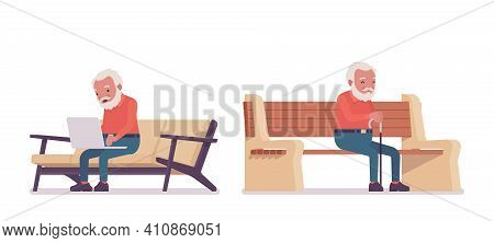 Old Man, Elderly Person Sitting On Bench With Laptop, Cane. Senior Citizen Over 65 Years, Retired Be