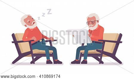 Old Man, Elderly Person Resting In Armchair, Sleeping, Reading Paper. Senior Citizen Over 65 Years R