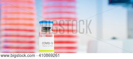 Close-up on laboratory vial Virus corona covid 19 vaccine. Research for new novel coronavirus immunization drug concept. Coronavirus COVID-19 vaccine vial