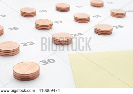 Plan Save Money To Budget Management. Cost Of Living. Monthly Report. Empty Yellow Paper Note In Las