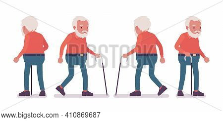 Old Man, Elderly Person With Walking Cane. Senior Citizen Over 65 Years, Retired Bearded Grandfather