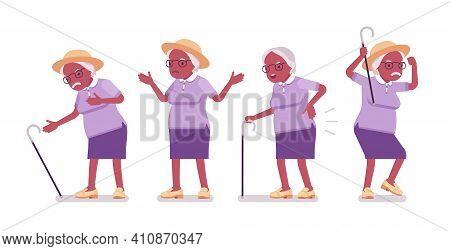 Old Black Woman, Elderly Person Having Heart, Back Ache. Senior Citizen Over 65 Years, Retired Grand