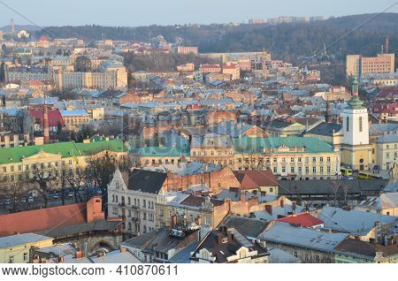 Top View Of The City Lviv.view Of Cityscape Against Sky
