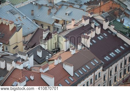 Lviv. Ukraine. September 2020. Lviv Bird\'s-eye View Of From Of The City Hall.general View From The