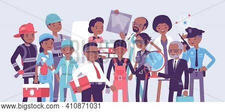 Black Professional Workers Of Different Occupations And Job. Group Of People In Management, Office,