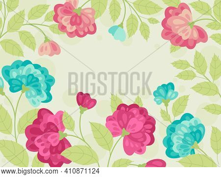 Spring Flowers In Flat Style - Frame, Poster, Banner, Template. Hello Spring And Summer. Spring Mood