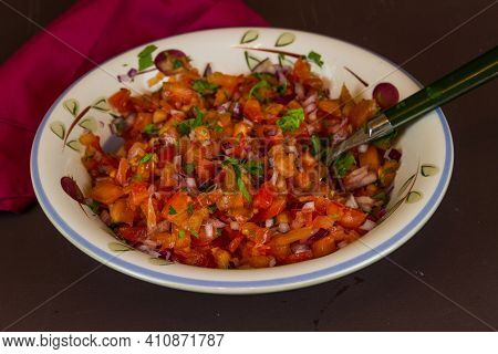 Bowl Of Home Made Tomato Salsa, Landscape