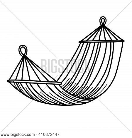 Tourist Hammock For Recreation. Portable Hammock Isolated On A White Background. Vector Illustration