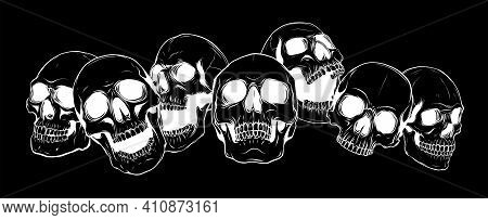 Silhouette Vector Illustration Group Of Human Skulls. Human Skull Design For Characters.