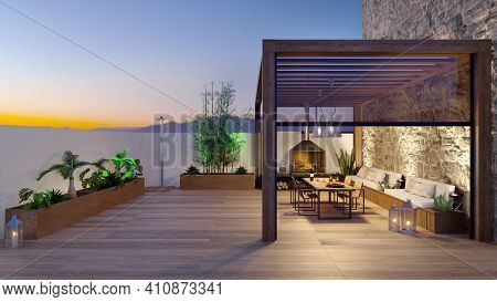 3d Illustration Of Urban Patio With Cozy Fireplace And Natural Plants. Table And Chairs Under Teak W