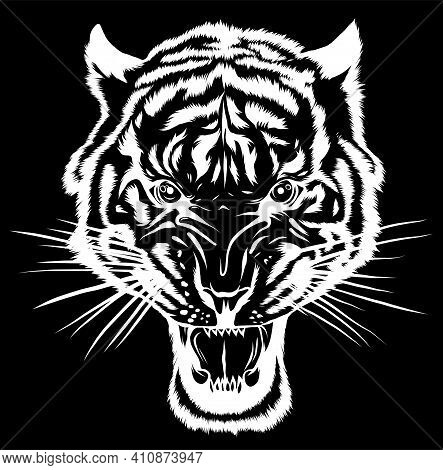 Silhouette Tiger Anger. Vector Illustration Of A Tiger Head.