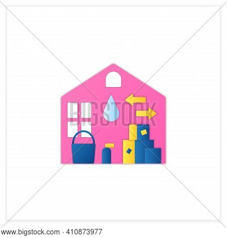 Move Out Cleaning Flat Icon. Change Residence. Moving To Another House. Sweeping, Wiping. Cleaning S