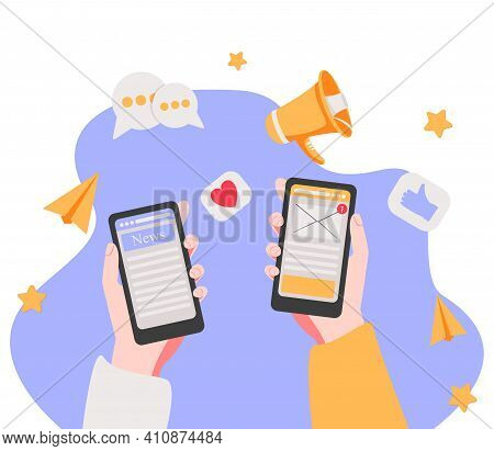 Webreading News On Mobile Device Concept. Vector Of A Hand Holding Smartphone With News Website. Onl