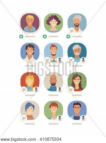Interface of Clubhouse app vector template. Women and men flat avatars. Audio chat conversation. Voice social networking application. Podcast, online live stream. Diversity of speakers and listeners