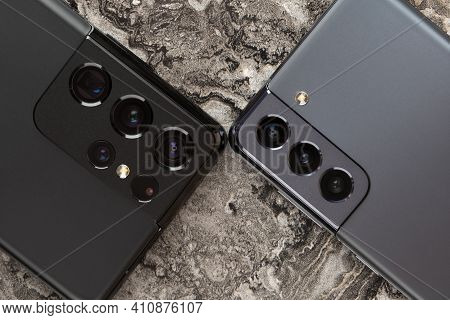 Rostov-on-don, Russia - February 2021. Samsung Galaxy S21 And S21 Ultra 5g On A Marble Table.  A New
