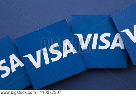 London, Uk - March 2021: Visa Financial Service Brand Logo Background