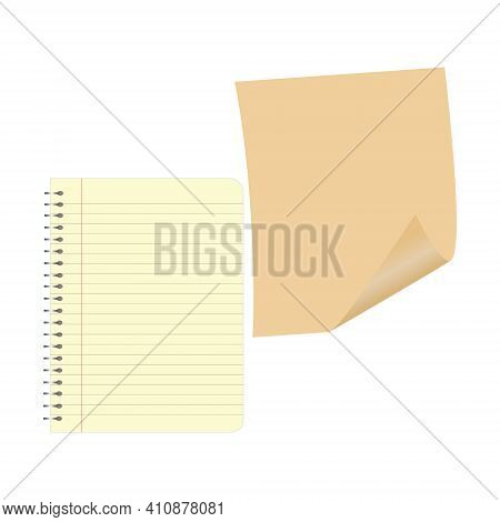 Notebook Page. White Striped Sheet. Notepad Or Notebook. Vector Sheet For Notes.