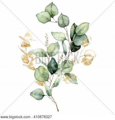 Watercolor Floral Card Of Gold Eucalyptus Branches, Seeds And Leaves. Hand Painted Silver Dollar Euc
