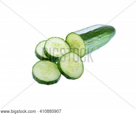 Cucumber.  Fresh Cucumber And Slices Isolated On White Background.