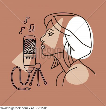 Linear Trendy Illustration Of A Girl Profile Silhouette Singing To A Retro Microphone. Yoand Woman S