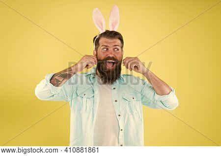 Having Fun. Barber Salon. Lucky Guy. Man Long Rabbit Ears. Bearded Man Easter Rabbit Costume. Easter