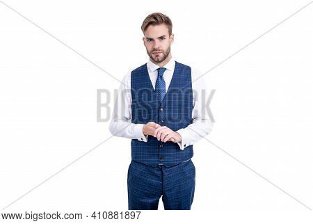 Give The Suit Jacket A Rest Handsome Employee In Business Style Clothing. Employee Attire. Casual Ve