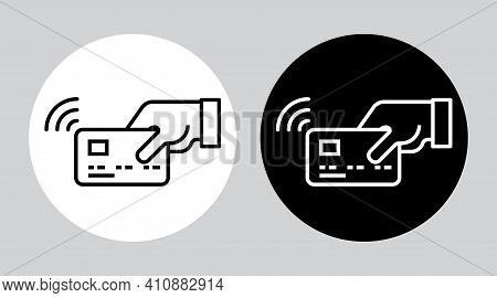 Tap To Pay Card Hand Nfc Payment Contactless Pass . Modern Contactless Symbol Vector Icon Illustrati