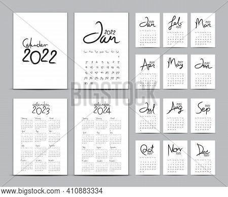 Desk Calendar 2022 Template Set, Calendar 2023-2024, Lettering Calendar, Hand-drawn Vector Illustrat