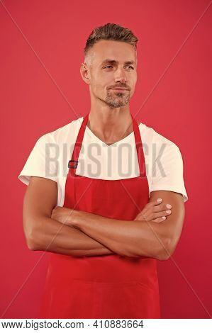 Cafe Staff. Barista Worker. Man Cook Wear Apron. Mature Barista. Restaurant Staff. Hipster Professio