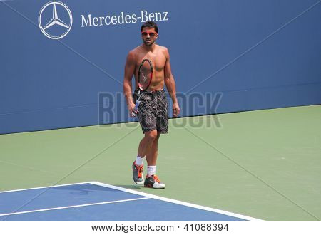 Professional tennis player Janko Tipsarevic practices for US Open