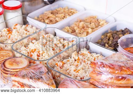 Ready To Eat. Lunch Boxes With Food Ready To Go For Work Or School, Ahead Meal Preparation Or Dietin
