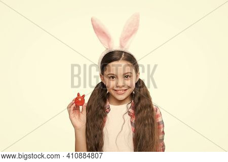 Looking Pretty In Easter Bunny Attire. Good Vibes. Adorable Bunny. Small Girl Child In Easter Bunny